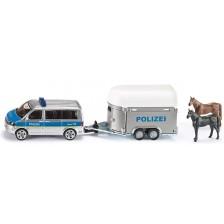 Метална играчка Siku Super - Полицейски миниван с ремарке за коне, 1:55 -1