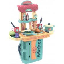 Игрален комплект Buba - Кухня в куфарче, синя -1