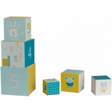 Игрален комплект Baby Art - Кубчета с отпечатъци с боички -1