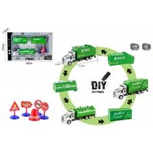 Игрален комплект Ocie - Камион, със сменящи се ремаркета и пътни знаци -1