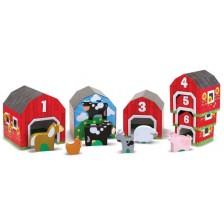 Игра за сортиране Melissa & Doug - Дървени къщички с животни -1