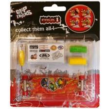 Играчкa за пръсти Grip&Trick - Long Board, червена  с емоджи -1