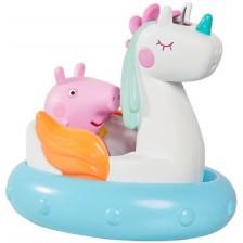 Играчка за баня Tomy Toomies - Прасенцето Пепа с лодка еднорог -1