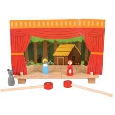 Игрален комплект Bigjigs  - Магнитен театър с дървени фигурки -1