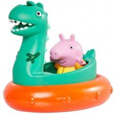 Играчка за баня Tomy Toomies - Peppa Pig, Джордж с лодка динозавър -1