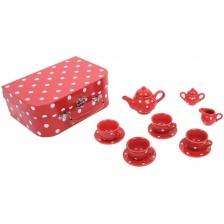 Игрален комплект Bigjigs - Порцеланов сервиз за чай, в куфарче, червен -1