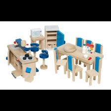 Комплект дървени мини мебели Goki - Обзавеждане за кухня -1
