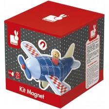 Дървена играчка Janod - Магнитен самолет -1