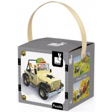 Детски пъзел Janod Lovely Puzzles - Джак и неговия джип -1