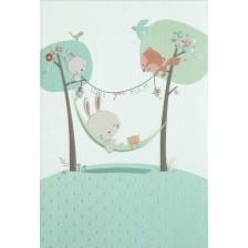 Картичка за бебе Busquets - Зайче, синя -1