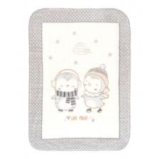 Kikkaboo Супер меко бебешко одеяло Love Pingus 80/110 см Сиво -1