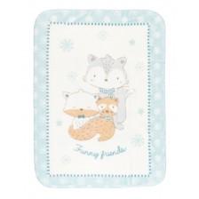 Kikkaboo Супер меко бебешко одеяло Funny Friends 80/110 см Синьо -1