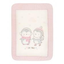 Kikkaboo Супер меко бебешко одеяло Love Pingus 80/110 см Розово -1