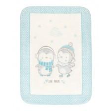 Kikkaboo Супер меко бебешко одеяло Love Pingus 110/140 см Синьо -1