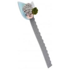 Книгоразделител от филц с бяло листо -1