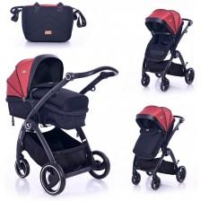 Комбинирана детска количка Lorelli - Adria, Black and Red -1