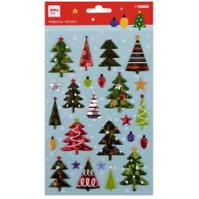 Apli Коледни стикери Коледни елхи с метални детайли 25 бр. -1