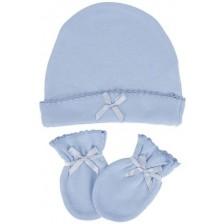 Комплект шапка с ръкавички Sevi Baby - Син -1