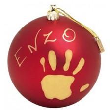 Коледна топка за бебешки отпечатък Baby Art, червена -1