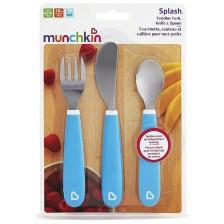 Munchkin Комплект виличка, лъжичка и ножче, сини -1