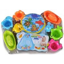 Комплект играчки за баня Kaichi - Формички и животни, с мрежа -1