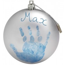 Коледна топка за бебешки отпечатък Baby Art, сребриста -1