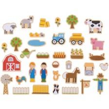 Комплект дървени магнити Bigjigs - Ферма, 35 части -1