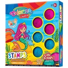 Комплект за оцветяване Colorino Creative - Печати и тампончета Русалка -1