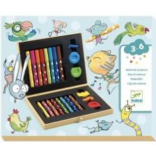 Комплект за рисуване Djeco - Colour Box, 22 части -1