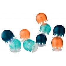Комплект играчки за вана Boon - Медузи, 9 броя -1