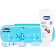 Комплект за почистване на зъбки Chicco - син -1