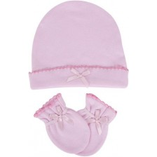 Комплект шапка с ръкавички Sevi Baby - Розов -1