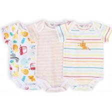 Комплект бодита с къс ръкав Minoti - Car, За новородени, 3 броя -1