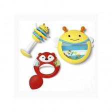 Комплект музикални инструменти Skip Hop - Кречетало, звънче и барабан -1