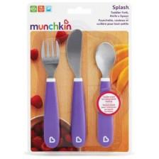 Комплект Munchkin - виличка, лъжичка и ножче, лилав -1