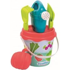 Кофичка за пясък Ecoiffier - С плодчета и зеленчуци, 5 части -1