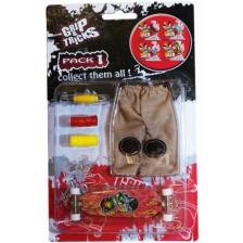 Комплект играчки за пръсти Grip&Trick - Long Board, червен -1