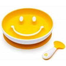 Комплект Munchkin Smile N Scoop - Чиния и лъжица, жълт -1