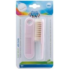 Комплект за коса Canpol - От мек естествен косъм, светлорозов -1