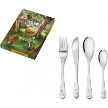Комплект детски прибори за хранене Zilverstad - Животинки, 4 части -1