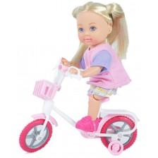 Комплект Simba Toys Evi Love - Еви, с бяло колело и розова каска -1