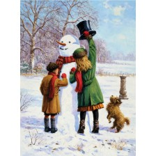 Комплект за рисуване с акрилни бои Royal - Снежен човек, 22х30 cm -1