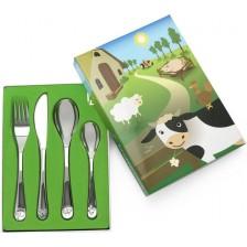 Комплект детски прибори за хранене Zilverstad - Ферма, 4 части -1