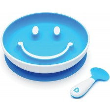 Комплект Munchkin Smile N Scoop - Чиния и лъжица, син -1