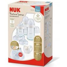 Комплект стъклени шишета Nuk Nature Sense, със залъгалка -1
