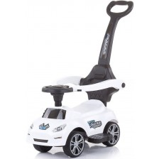 Кола за яздене с дръжка Chipolino - Турбо, бяла -1