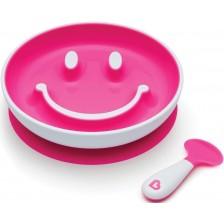Комплект Munchkin Smile N Scoop - Чиния и лъжица, розов -1