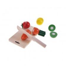 Комплект продукти за рязане Woody - Плодове и зеленчуци за рязане, от дърво -1