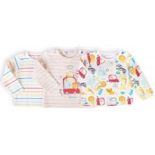 Комплект блузки с дълъг ръкав Minoti - Car, 0-3 месеца, 3 броя -1