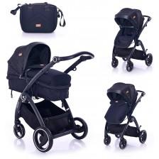 Комбинирана детска количка Lorelli - Adria, Black -1